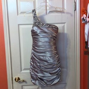 Silver, one strap party dress